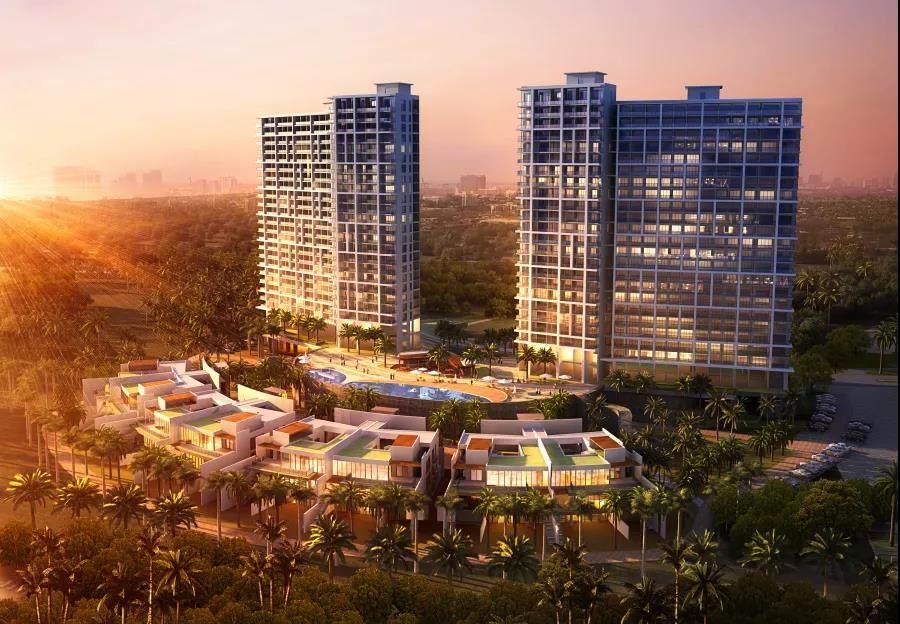 阿罗哈檀香海居 夏威夷风情一站式度假,总价390万/套起,均价3.8万元/㎡,104-169㎡三至五房